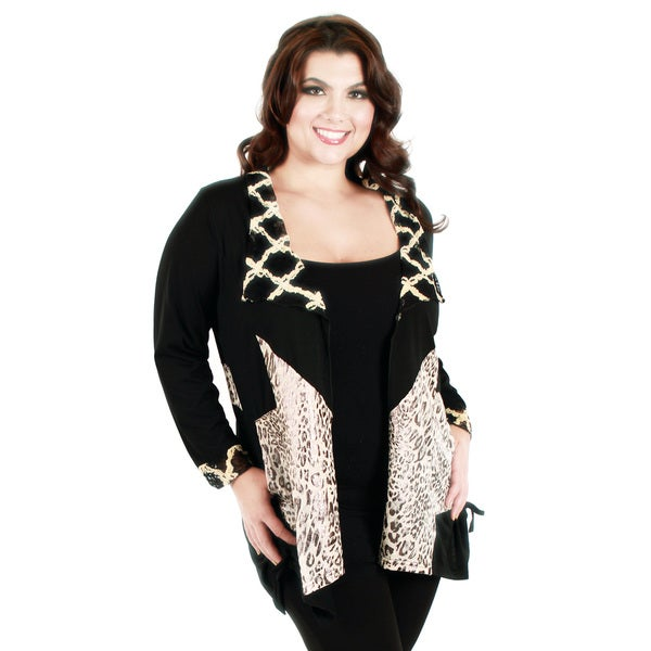 Firmiana Women's Plus Size Long Sleeve Black/ Beige Animal Print Cardigan