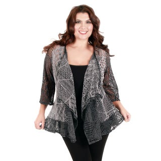 Women's Plus Size Grey Mesh Open-front Cardigan