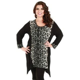 Woman's Plus Size Long Sleeve Black/ Grey Animal Print Top
