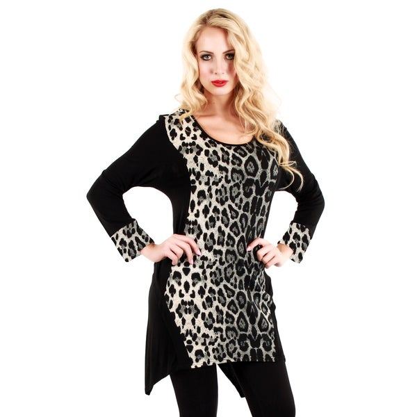 Firmiana Women's Black and Grey Animal Print Tunic