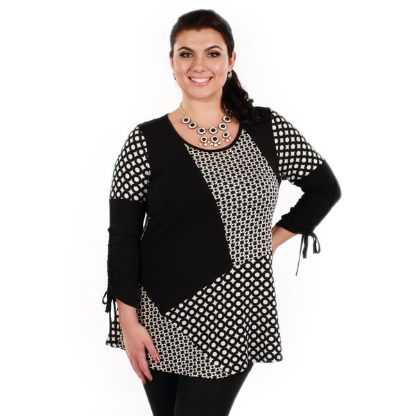 Firmiana Women's Plus Size Long Sleeve Black/ White Pattern Top