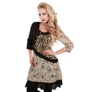 Firmiana Women's Beige and Black Mixed Floral Print Tunic