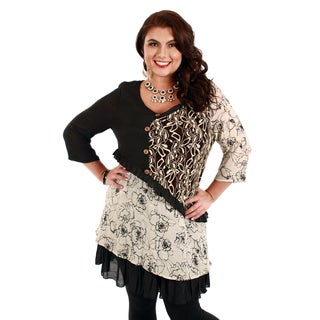 Women's Plus Size 3/4 Sleeve Beige/ Black Floral Tunic