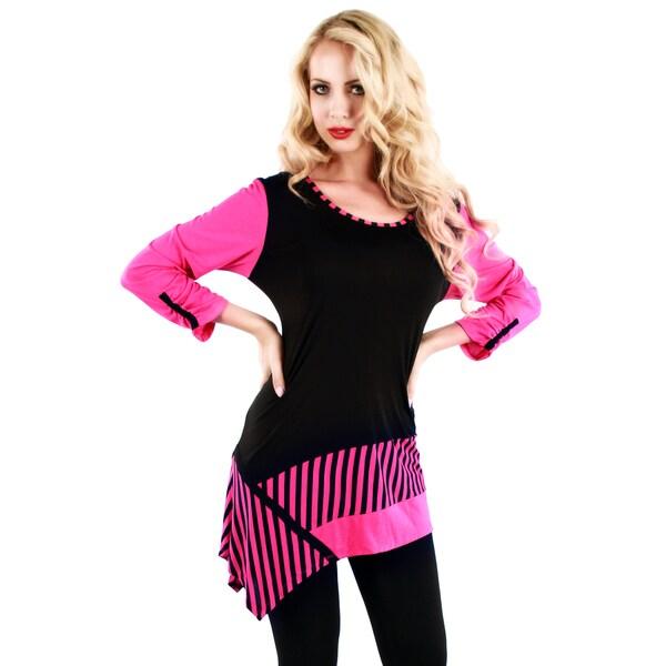 Firmiana Women's Long Sleeve Black/ Pink Stripe Top