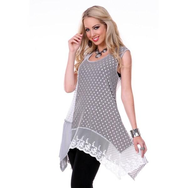 Firmiana Women's Grey/ White Print Sleeveless Top