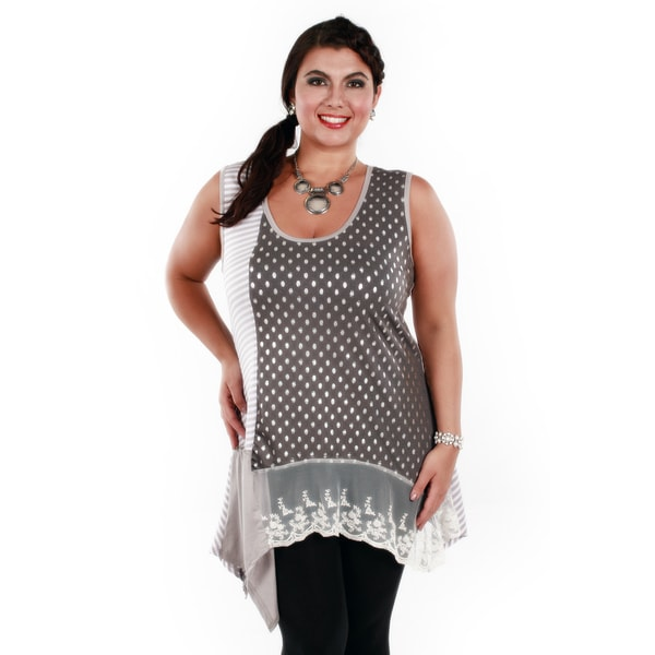 Firmiana Woman's Plus Size Grey/ White Polka-dot/ Stripes Sleeveless Top