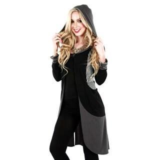 Woman's Black/ Grey Long Sleeve Hooded Duster