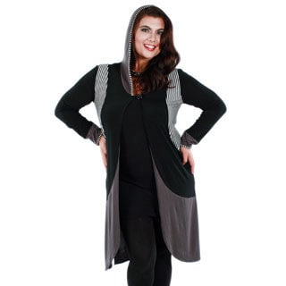Woman's Plus Size Black/ Grey Long Sleeve Hooded Duster
