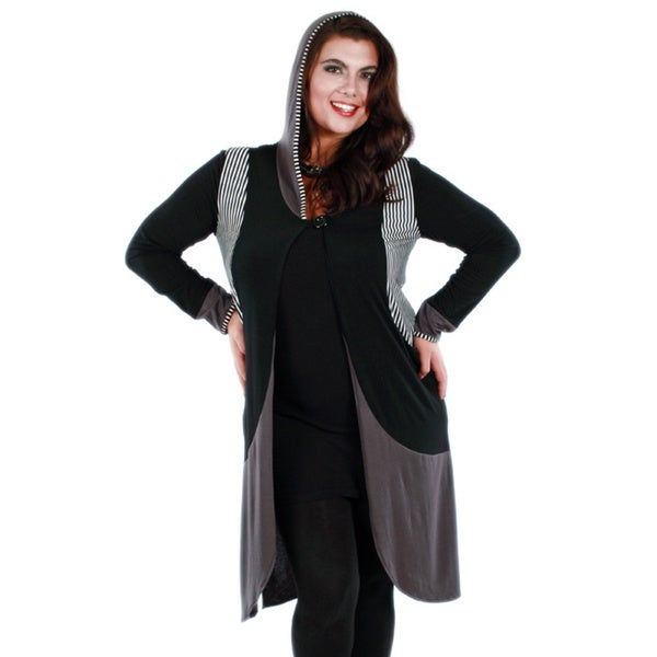 Firmiana Woman's Plus Size Black/ Grey Long Sleeve Hooded Duster