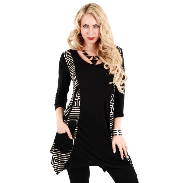 Firmiana Womans Black/ White Geometric 3/4-length Sleeve Top
