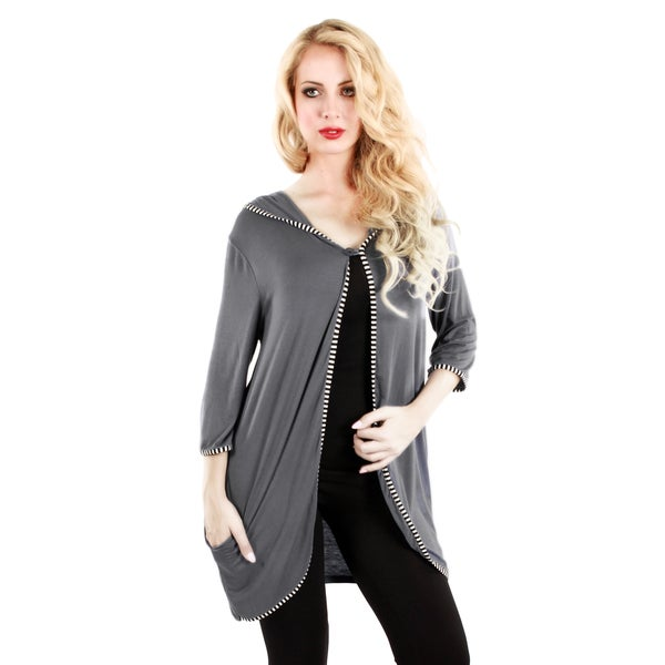 Firmiana Women's Grey Striped Trim Open Cardigan