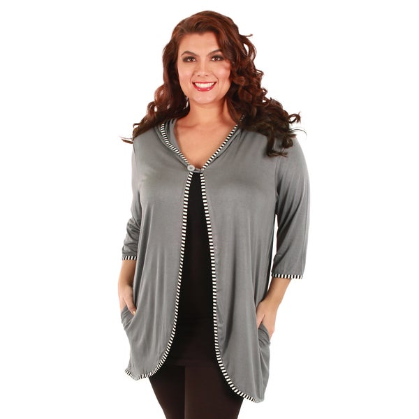 Firmiana Woman's Plus Size Grey 3/4-length Sleeve Hooded Cardigan