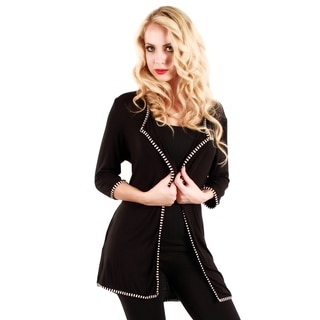 Woman's Black/ White 3/4-length Sleeve Cardigan