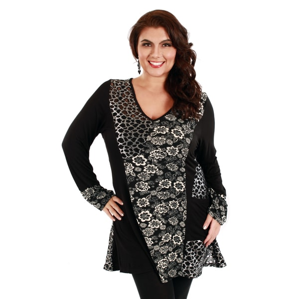 Firmiana Woman's Plus Size Animal/ Floral Print Long Sleeve Top