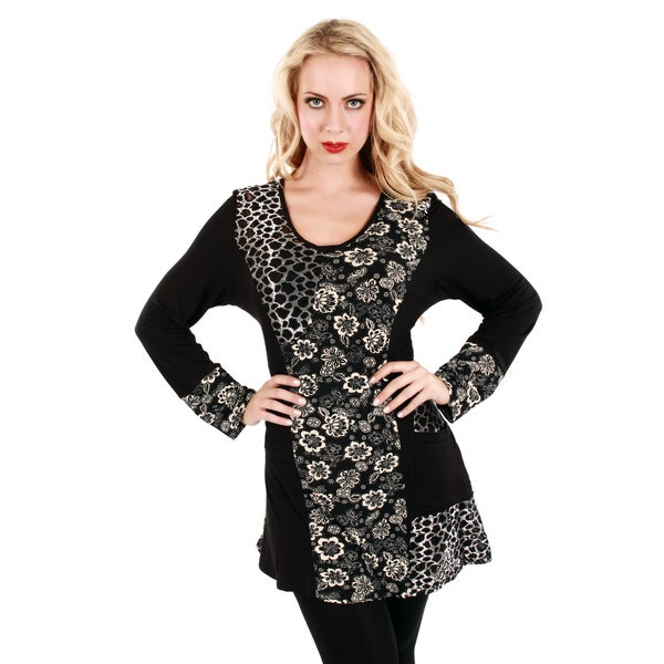 Firmiana Women's Mixed Animal and Floral Print Long Sleeve Top