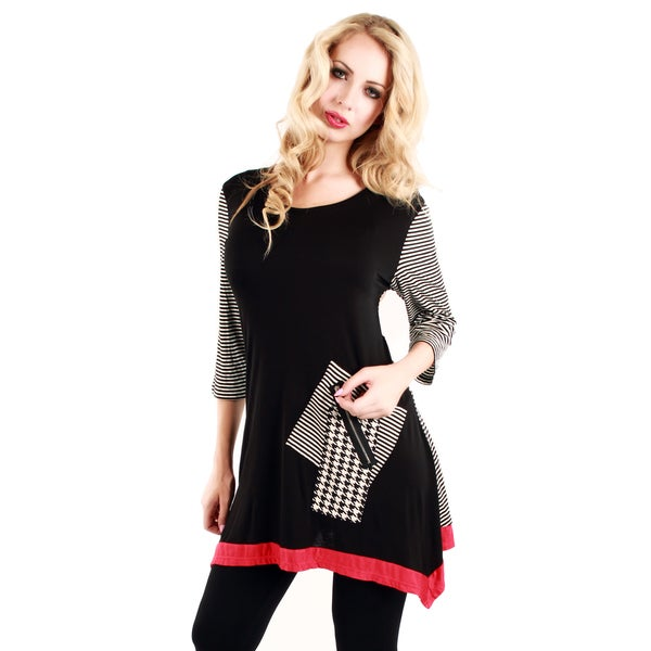 Firmiana Women's Black and Red Mixed Print Tunic with Patch Pocket