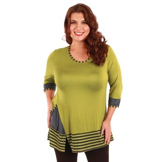 Women's Plus Size Olive Green Striped Trim Tunic