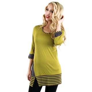 Women's Olive Green Striped Accent Tunic