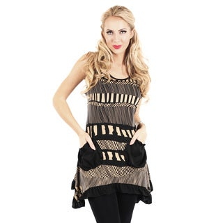 Women's Black Mixed Stripe Sleeveless Tunic