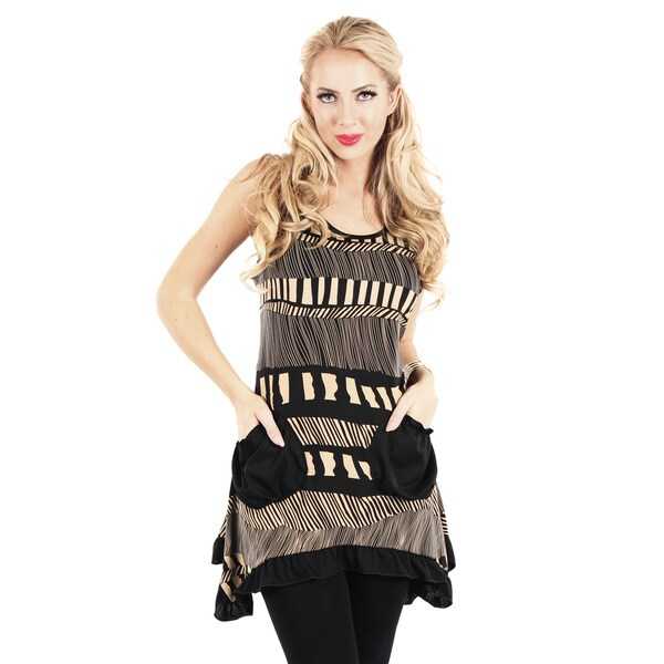 Firmiana Women's Black Mixed Stripe Sleeveless Tunic