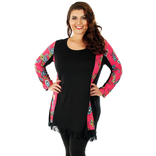 Firmiana Women's Plus Size Black and Pink Paisley Long-sleeve Top