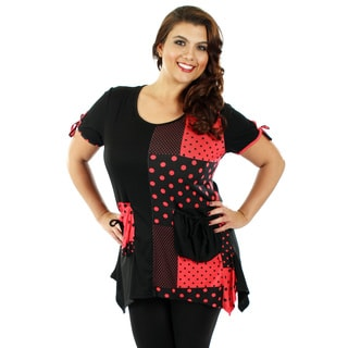 Women's Plus Size Black and Red Polka-dot Top