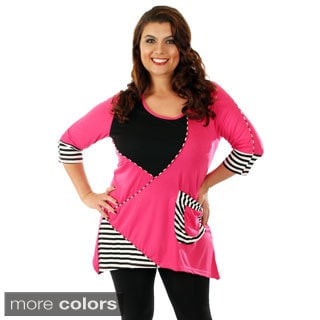 Women's Plus Size Patchwork Style 3/4-sleeve Tunic