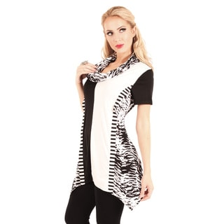 Women's Black and White Striped Cowl-neck Tunic