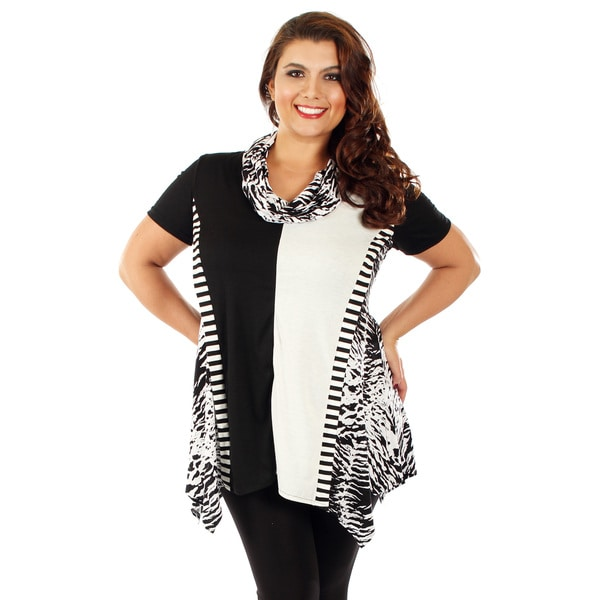 Firmiana Women's Plus Size Black and White Striped Cowl-neck Tunic