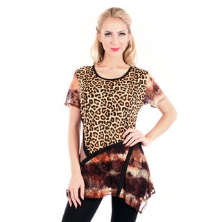 Firmiana Women's Mixed Animal Print Short Sleeve Top