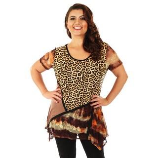 Firmiana Women's Plus Size Mixed Animal Print Short Sleeve Top