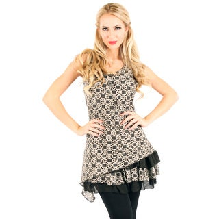 Women's Black and Beige Lace Sleeveless Tunic