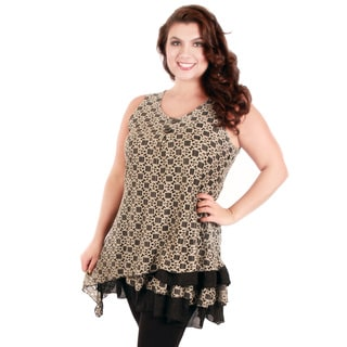 Firmiana Women's Plus Size Black and Beige Lace Sleeveless Tunic