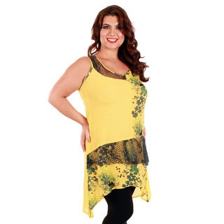 Firmiana Women's Plus Size Yellow Floral and Mesh Sleeveless Dress
