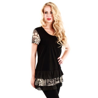 Women's Black Ruffled Lace Tunic