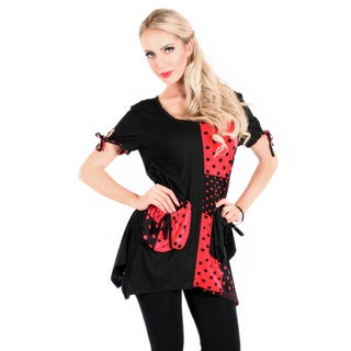 Firmiana Women's Black and Red Polka-dot Panel Tunic