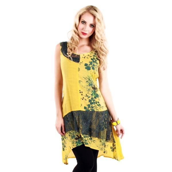 Women's Yellow Floral Pattern and Mesh Sleeveless Dress