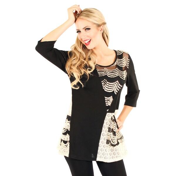Firmiana Women's Black Sheer-inset Mixed Print Tunic