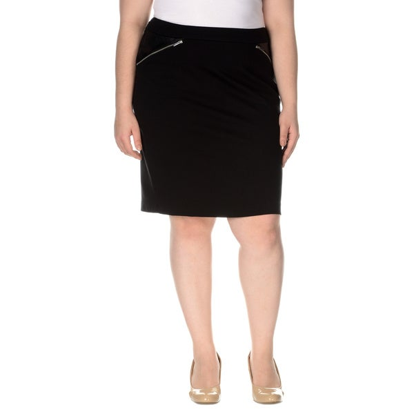 Grace Elements Women's Plus-Size Ponte Skirt With Zip Detail
