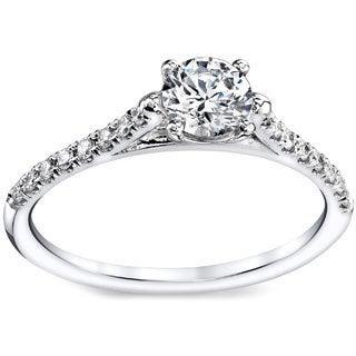 French Pave 14k White Gold 1/2ct TDW Round Diamond Engagement Ring (G-H, VS1-VS2)