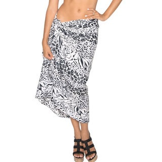 La Leela Animal Skin Printed Swim Hawaiian Sarong Cover up Wrap Black
