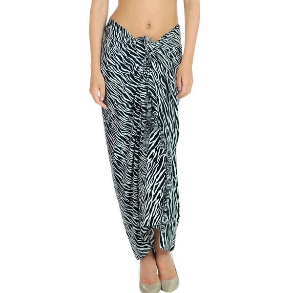 La Leela Animal Skin Printed Black and WhiteSwim Hawaiian Sarong Cover up Wrap