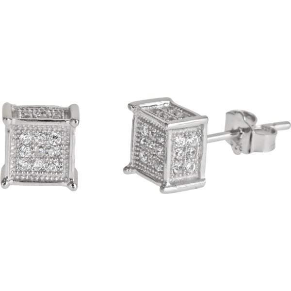 Sterling Silver Square CZ Micropave Stud Earrings