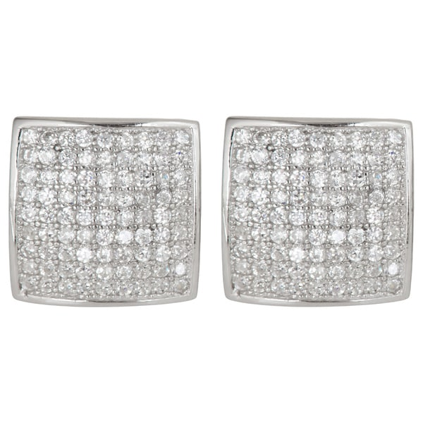 Sterling Silver Square Micropave CZ Stud Earrings