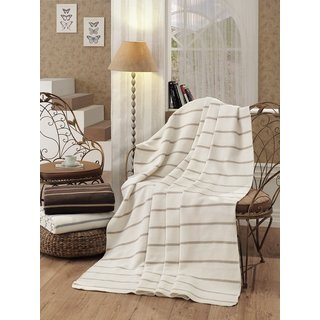 Striped Twin Size Cotton Blend Plush Throw Blanket