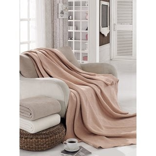 Solid Color Cotton Blend Plush Blanket