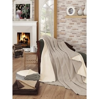 Ottomanson Solid Color Reversible Cotton Blend Plush Throw Blanket