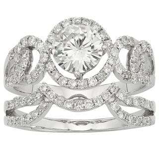 Charles & Colvard 14k Gold 2.07 TGW Round Forever Brilliant Moissanite Halo Bridal Ring Set