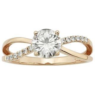 Charles & Colvard 14k Rose Gold 1.12 TGW Round Forever Brilliant Moissanite Solitaire Ring with Sidestones