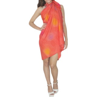 La Leela Orange Shell Design Sarong Beach Pareo Cover-up